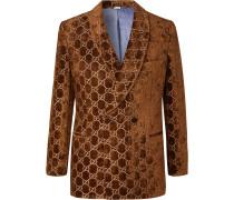 Brown Double-Breasted Logo-Embroidered Velvet Tuxedo Jacket