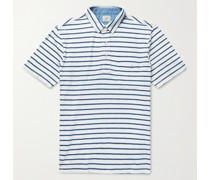 Garment-Washed Striped Cotton-Jersey Polo Shirt