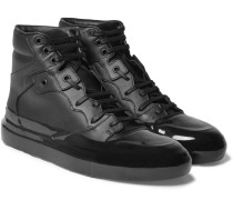 Rubberised-leather High-top Sneakers
