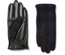 Cashmere-lined Wool And Leather Tech Gloves