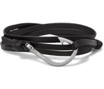 Hook Leather Silver-plated Wrap Bracelet