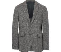 Grey Slim-fit Wool-blend Tweed Blazer