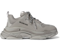 Triple S Mesh and Faux Leather Sneakers