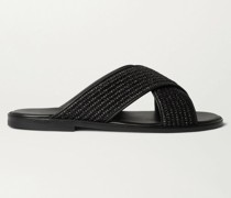Otawi Woven Raffia and Leather Sandals