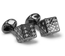 Dice Gunmetal, Diamond and Swarovski Crystal Cufflinks