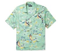 Hawaiian-print Camp-collar Crepe Shirt