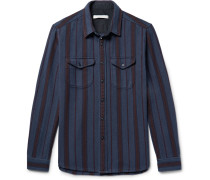 Happy Slim-fit Striped Organic Cotton-twill Shirt