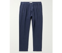 Tapered Pleated Linen Trousers