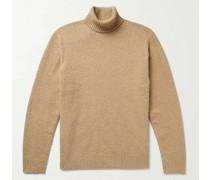 Cotton-Blend Bouclé Rollneck Sweater