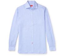 Slim-Fit Puppytooth Linen Shirt