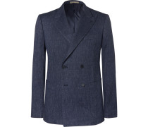 Navy Slim-fit Double-breasted Woven Blazer