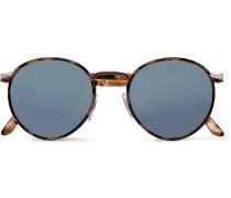 Round-frame Tortoiseshell Acetate Mirrored Sunglasses