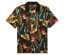 Camp-collar Printed Matte-satin Shirt