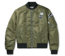 Cave Appliquéd Shell Bomber Jacket