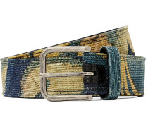 3.5cm Leather-backed Printed Canvas Belt