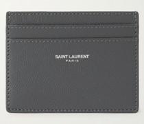 Logo-Print Pebble-Grain Leather Cardholder