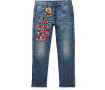Slim-fit Embroidered Stonewashed Denim Jeans