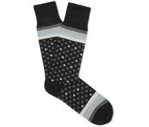 Polka-dot And Striped Stretch Cotton-blend Socks