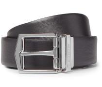 James 3.5cm Black And Brown Cross-grain Leather Reversible Belt