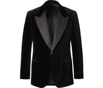 Black Grosgrain-Trimmed Cotton-Velvet Tuxedo Jacket