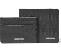Textured-leather Wallet And Cardholder Gift Box