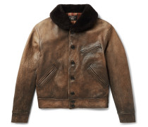 Billings Shearling-trimmed Distressed Leather Jacket
