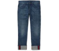 Slim-fit Cropped Washed-denim Jeans
