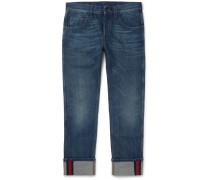 Slim-fit Cropped Washed-denim Jeans