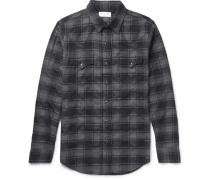 Slim-fit Checked Stretch-cotton Flannel Western Shirt