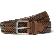3cm Brown Woven Leather Belt