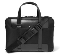 Nightflight Leather-trimmed Canvas Briefcase