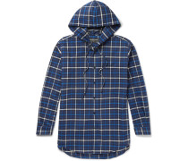 Oversized Checked Cotton-flannel Hooded Shirt