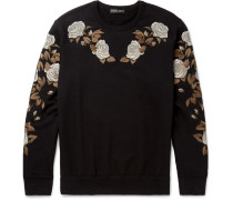 Floral-embroidered Loopback Cotton-jersey Sweatshirt