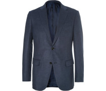Navy Milano Mélange Silk And Wool-blend Blazer