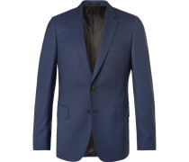 Blue Soho Puppytooth Wool And Silk-blend Suit Jacket