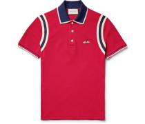 Appliquéd Striped Cotton-blend Piqué Polo Shirt