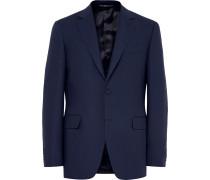 Blue Slim-fit Travel Water-resistant Wool Blazer