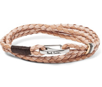 Two-tone Woven Leather Wrap Bracelet