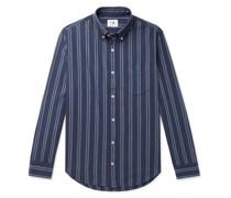 Levon Button-Down Collar Striped Cotton Shirt