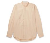 Grandad-Collar Cotton and Silk-Blend Shirt