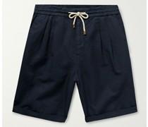 Wide-Leg Linen and Cotton-Blend Drawstring Bermuda Shorts