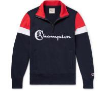 Embroidered Colour-block Loopback Cotton-jersey Half-zip Sweatshirt