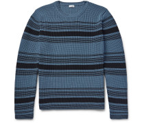 Striped Ribbed-knit Cotton-blend Sweater