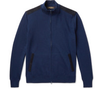 Suede-trimmed Cashmere And Silk-blend Zip-up Cardigan