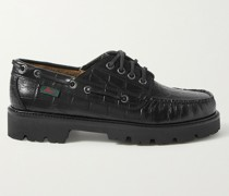 Croc-Effect Leather Boat Shoes