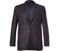 Blue Slim-fit Checked Super 120s Wool Blazer
