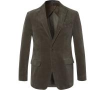 Green Stretch-cotton Corduroy Blazer