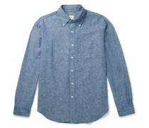 Button-Down Collar Linen and Cotton-Blend Chambray Shirt