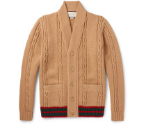 Stripe-trimmed Cable-knit Wool Cardigan