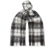 Fringed Checked Mohair-Blend Scarf